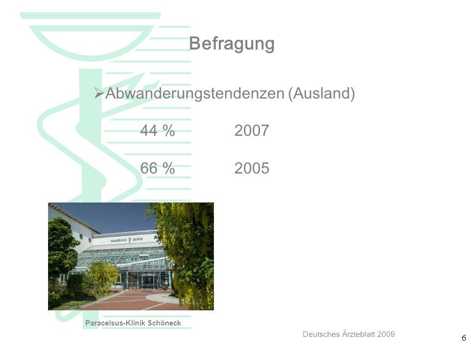 Befragung Abwanderungstendenzen (Ausland) 44 % 2007 66 % 2005