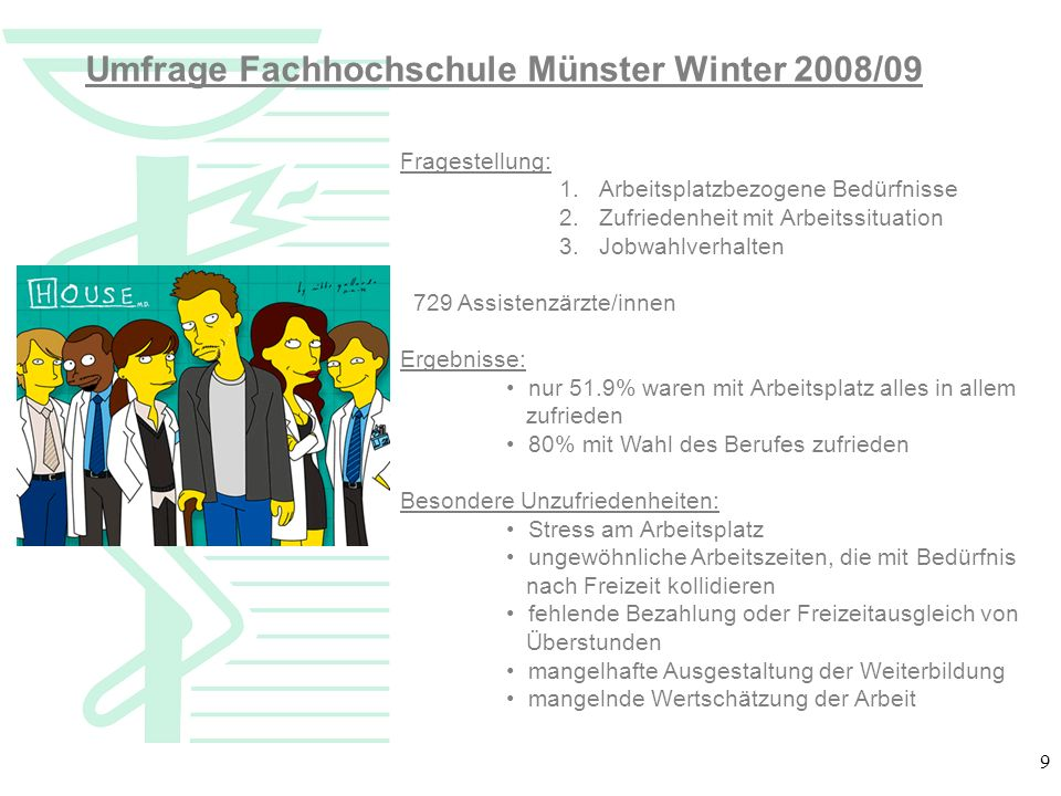 Umfrage Fachhochschule Münster Winter 2008/09
