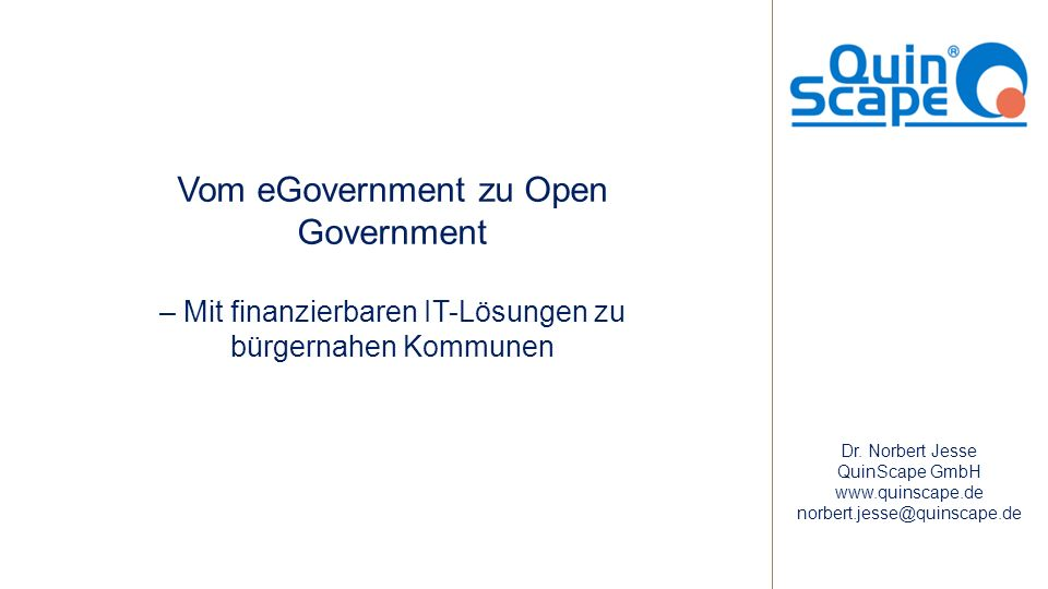 Vom eGovernment zu Open Government