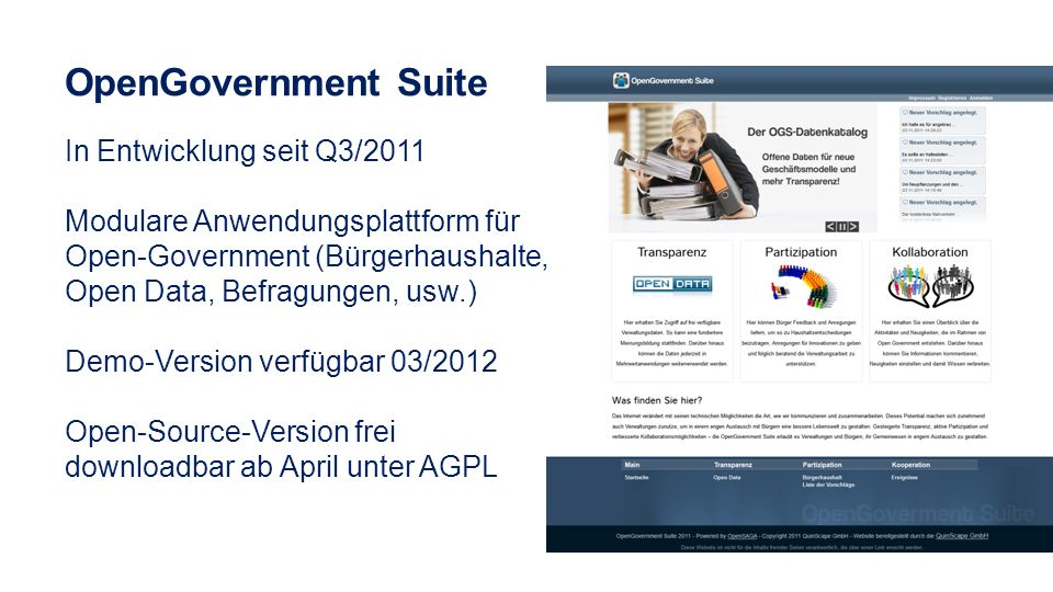 OpenGovernment Suite In Entwicklung seit Q3/2011