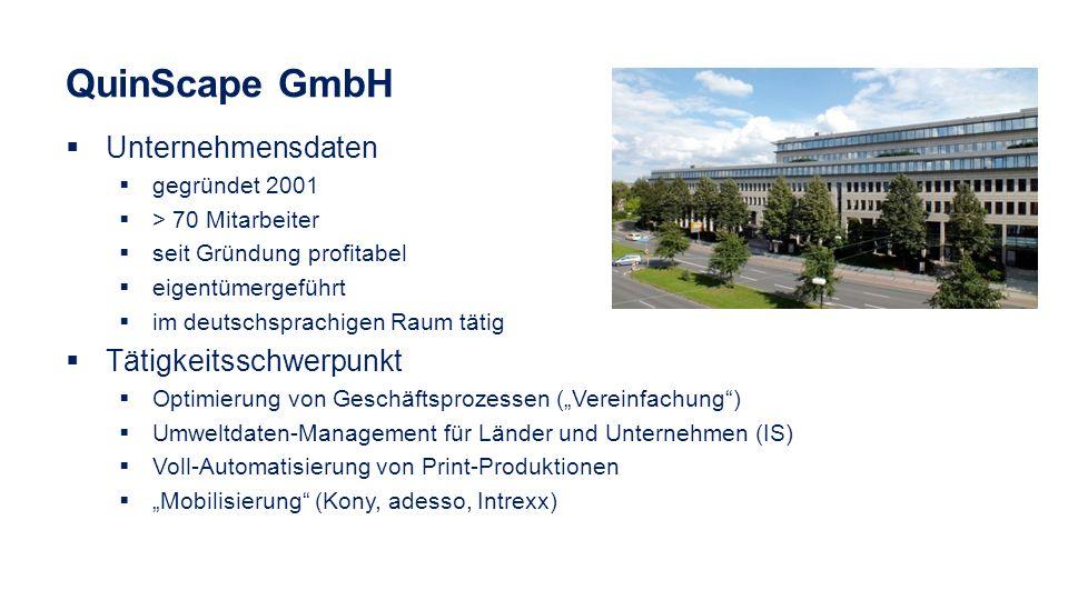 QuinScape GmbH Unternehmensdaten Tätigkeitsschwerpunkt gegründet 2001
