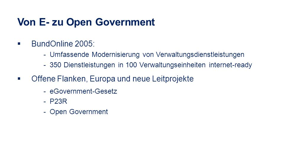 Von E- zu Open Government