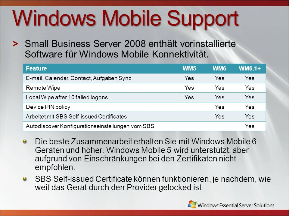 Windows Mobile Support