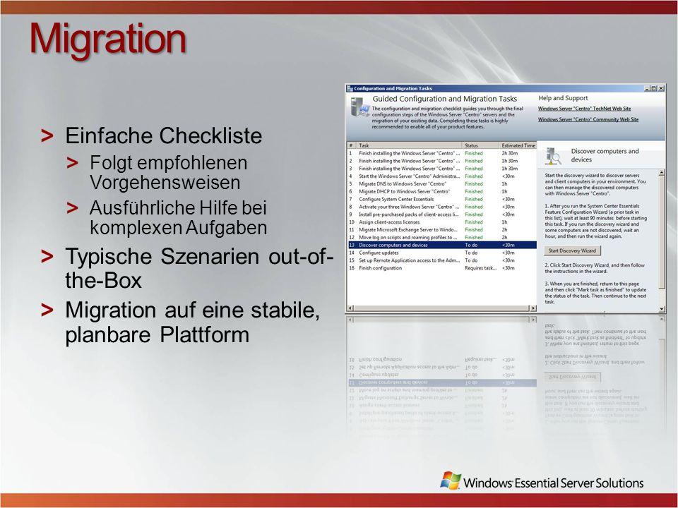Migration Einfache Checkliste Typische Szenarien out-of-the-Box
