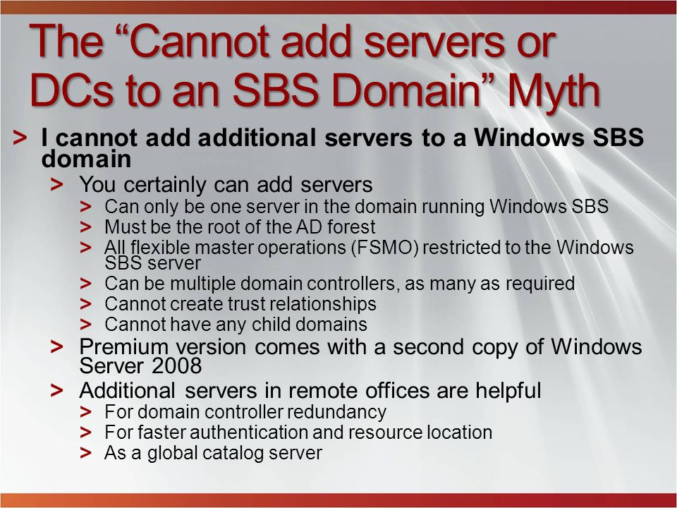 The Cannot add servers or DCs to an SBS Domain Myth