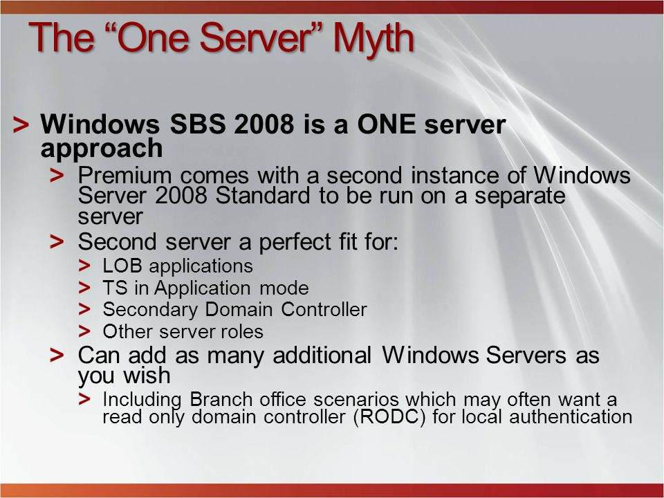 The One Server Myth Windows SBS 2008 is a ONE server approach