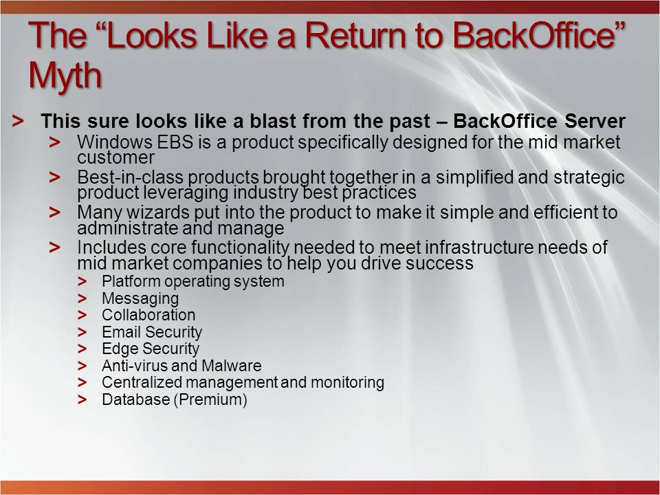 The Looks Like a Return to BackOffice Myth