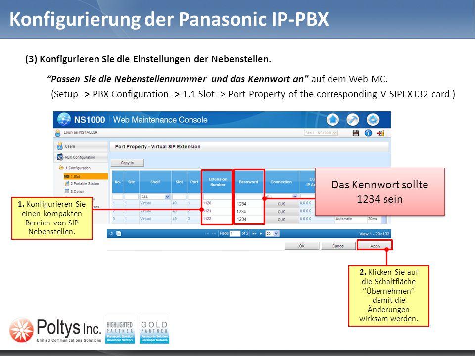 Konfigurierung der Panasonic IP-PBX