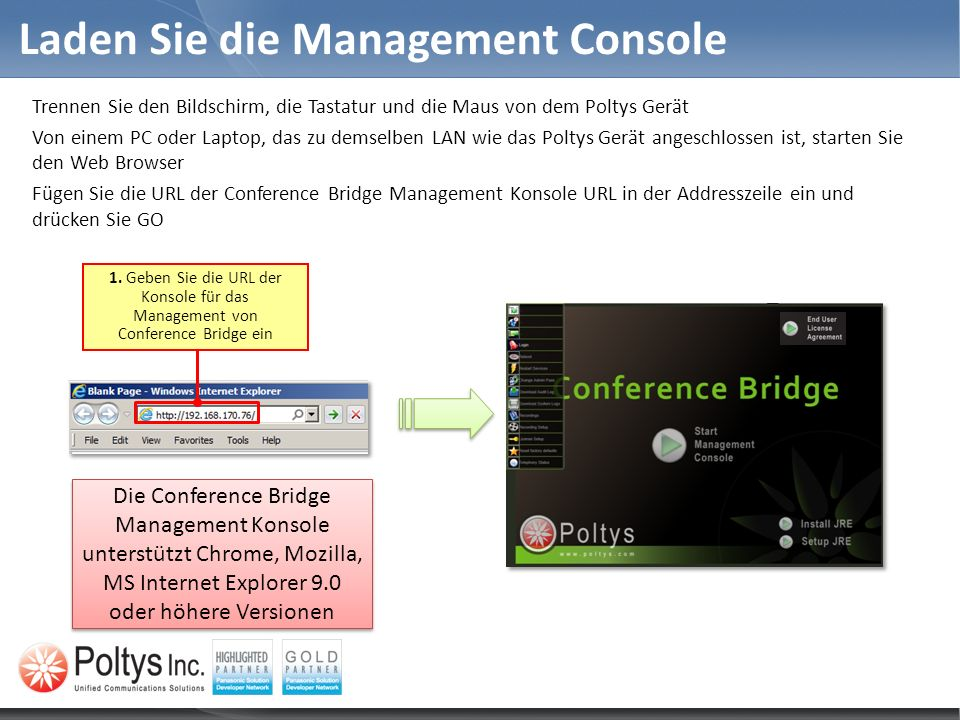 Laden Sie die Management Console