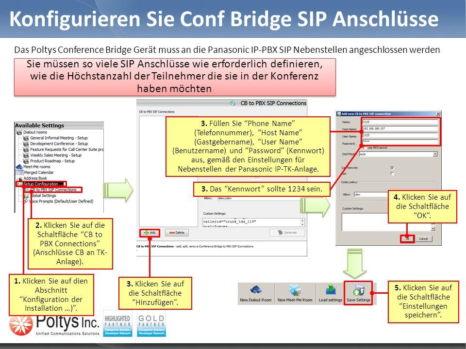 Konfigurieren Sie Conf Bridge SIP Anschlüsse