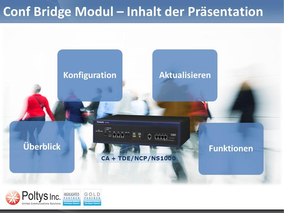 Conf Bridge Modul – Inhalt der Präsentation