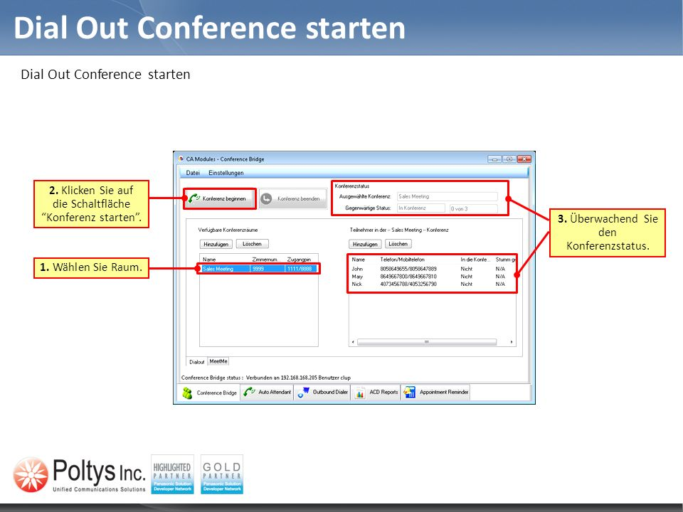 Dial Out Conference starten