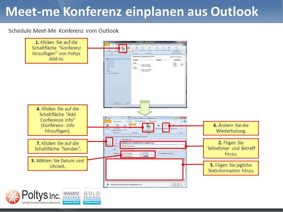 Meet-me Konferenz einplanen aus Outlook