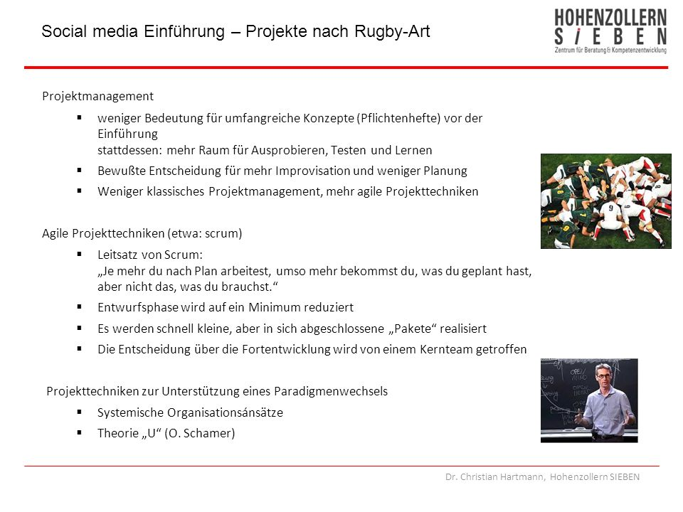 Social media Einführung – Projekte nach Rugby-Art