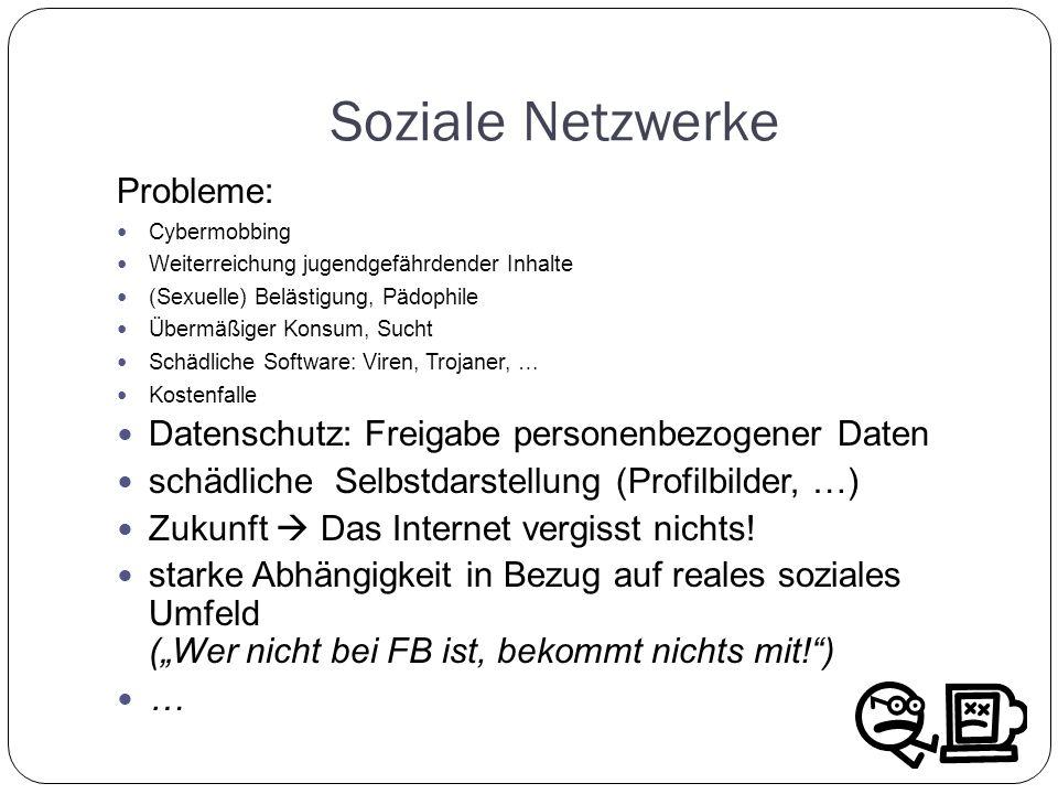 Soziale Netzwerke Probleme: