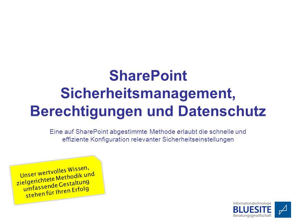 SharePoint Sicherheitsmanagement, Berechtigungen und Datenschutz