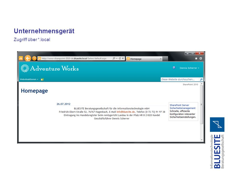 Unternehmensgerät Zugriff über *.local