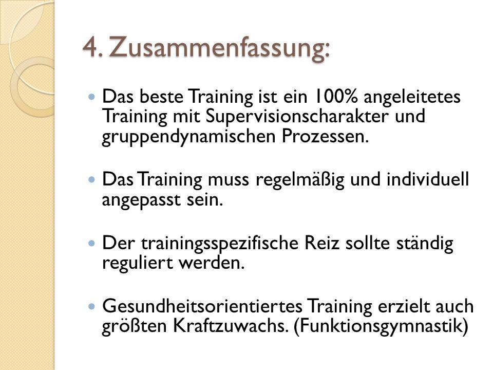 4. Zusammenfassung:Das beste Training ist ein 100% angeleitetes Training mit Supervisionscharakter und gruppendynamischen Prozessen.