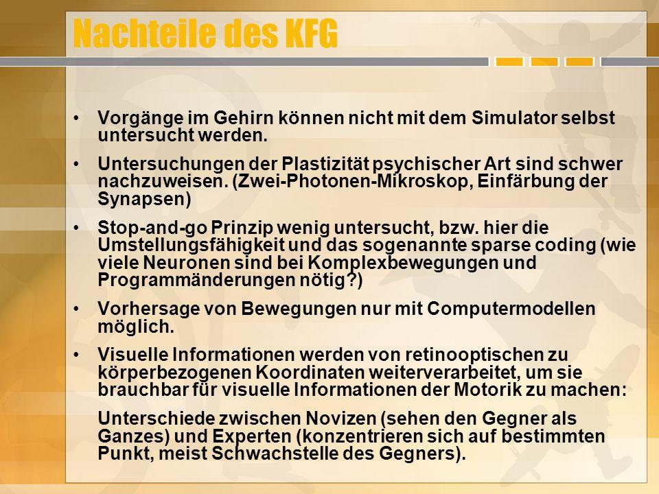 Nachteile des KFG Vorgänge im Gehirn können nicht mit dem Simulator selbst untersucht werden.