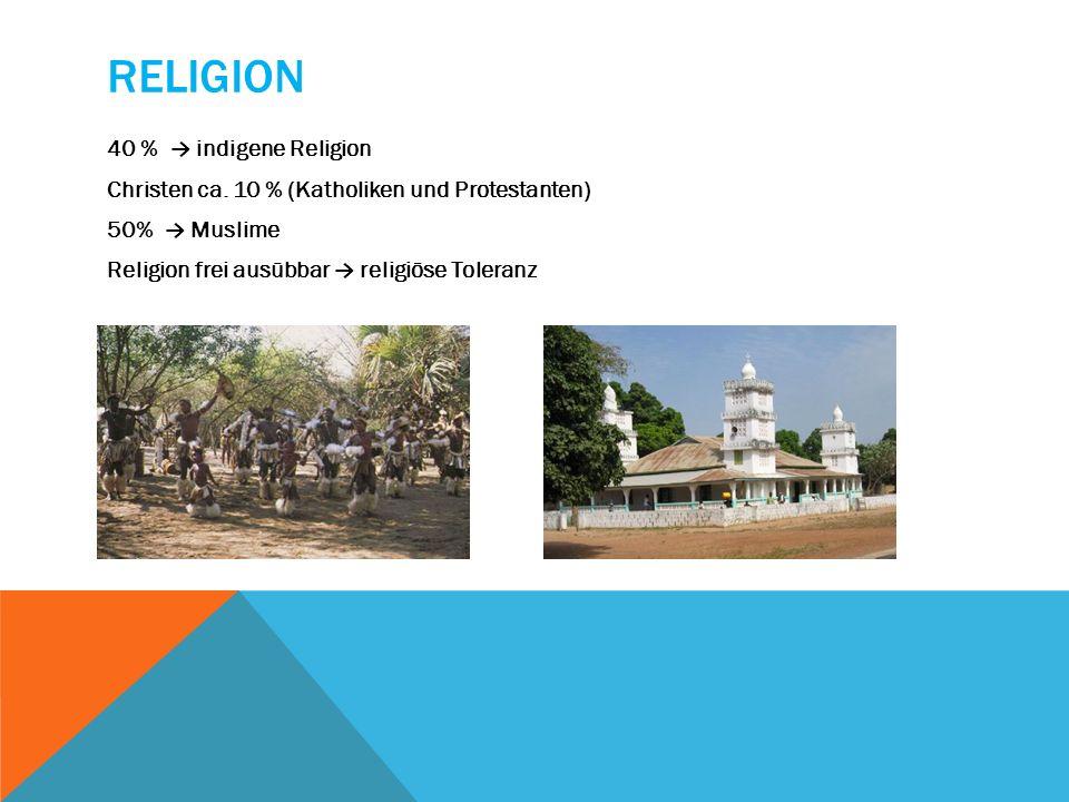 Religion 40 % → indigene Religion Christen ca.
