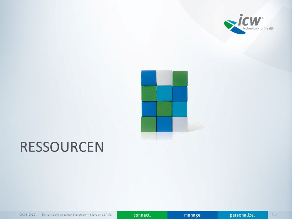 Ressourcen 09.05.2012 Sicherheit in verteilten Systemen mit Java und SAML / x