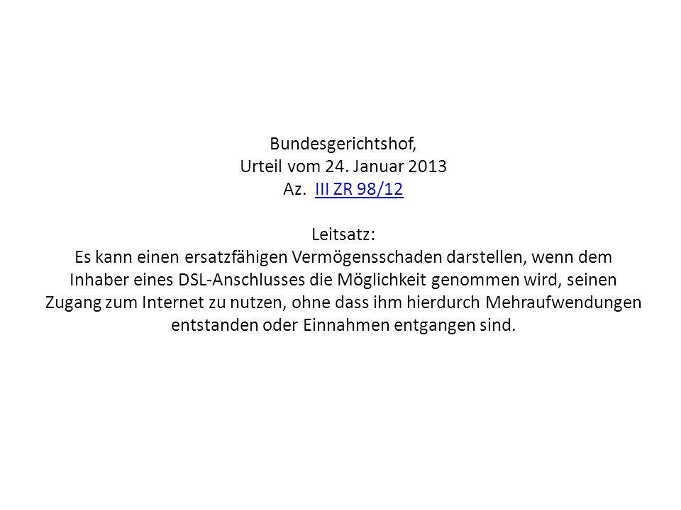 Bundesgerichtshof, Urteil vom 24. Januar 2013 Az