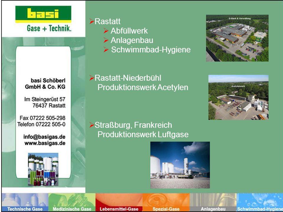 Rastatt Abfüllwerk. Anlagenbau. Schwimmbad-Hygiene. Rastatt-Niederbühl. Produktionswerk Acetylen.