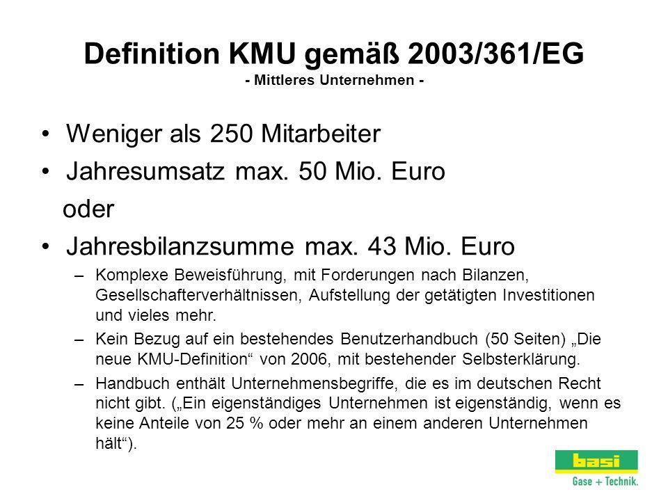 Definition KMU gemäß 2003/361/EG - Mittleres Unternehmen -
