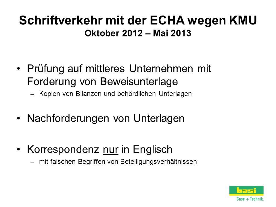 Schriftverkehr mit der ECHA wegen KMU Oktober 2012 – Mai 2013