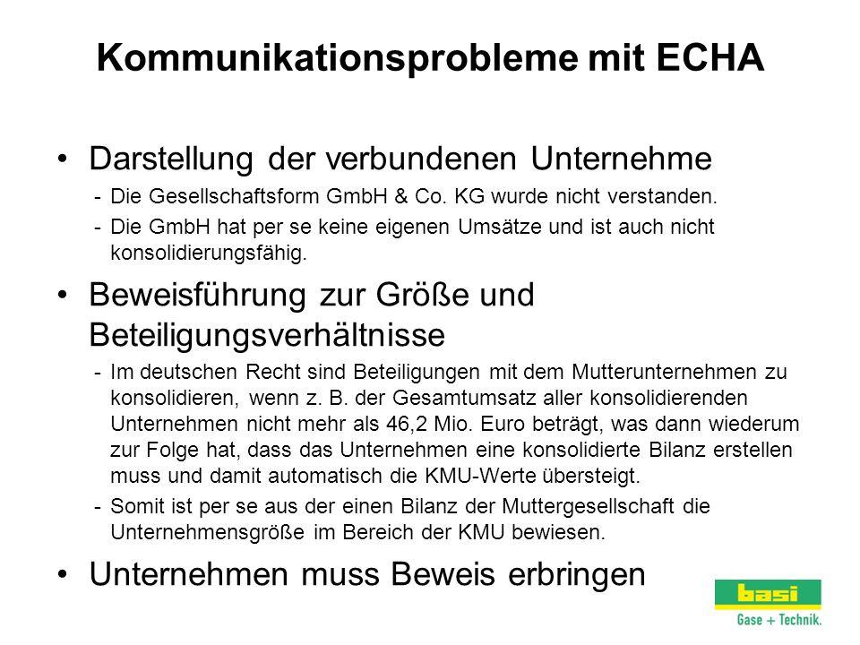 Kommunikationsprobleme mit ECHA