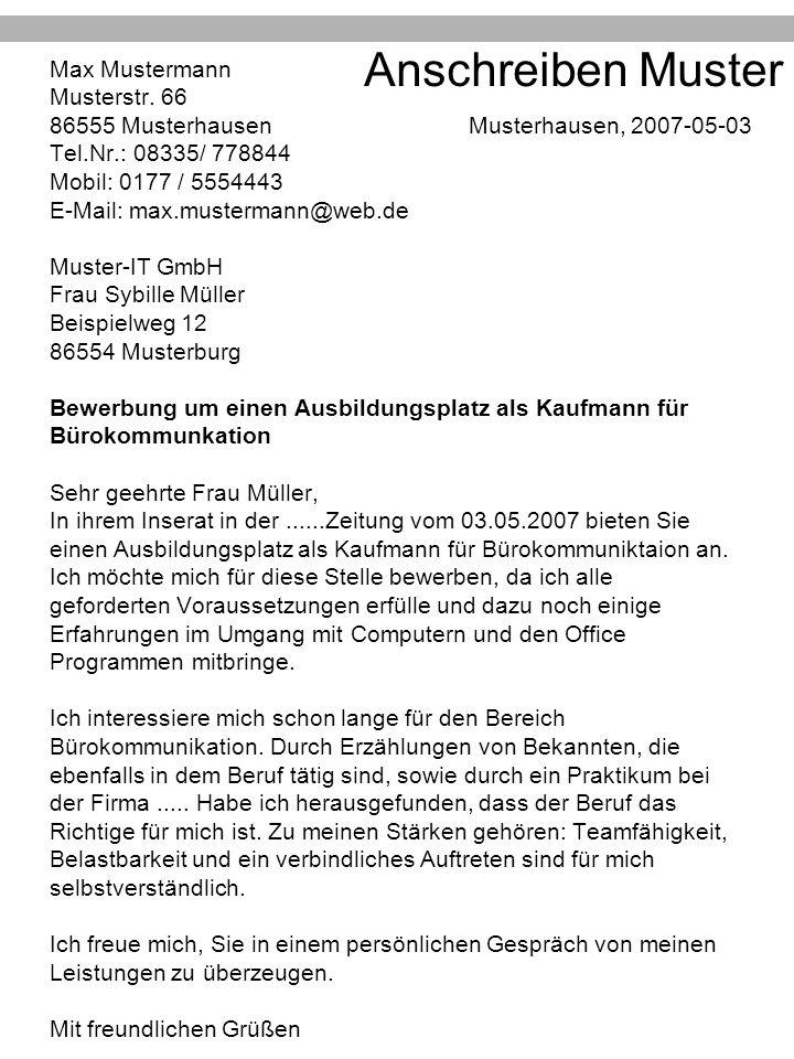 Anschreiben Muster Max Mustermann Musterstr. 66