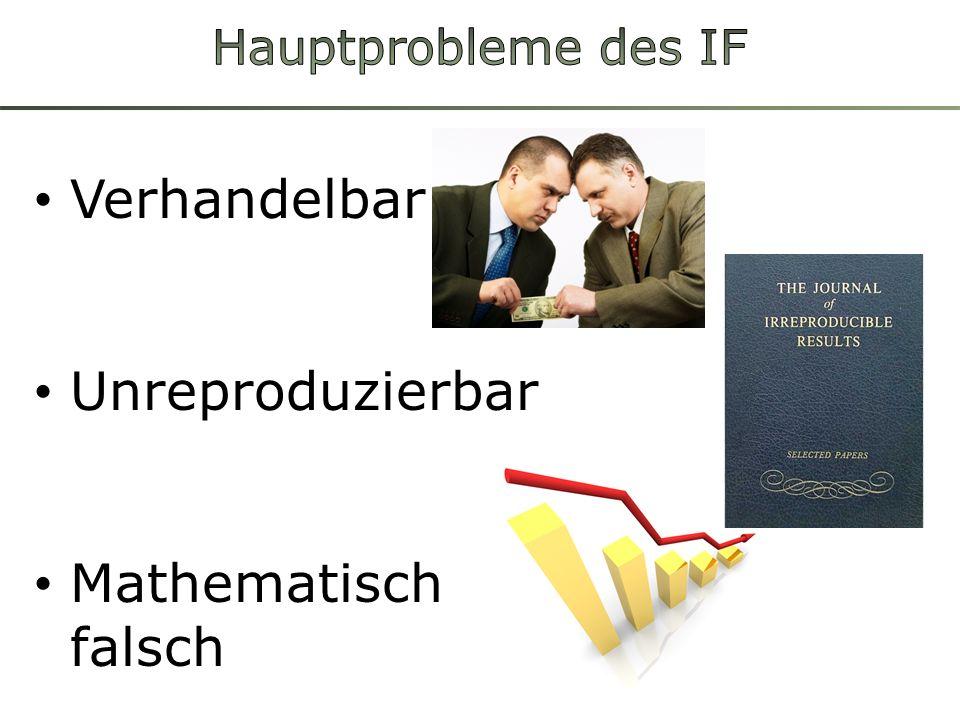 Hauptprobleme des IF Verhandelbar Unreproduzierbar Mathematisch falsch