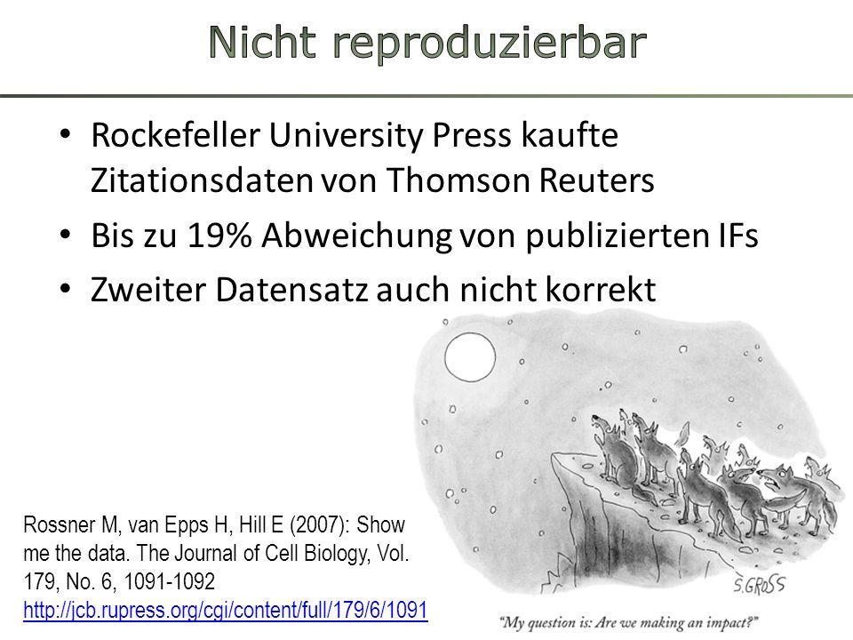 Nicht reproduzierbar Rockefeller University Press kaufte Zitationsdaten von Thomson Reuters. Bis zu 19% Abweichung von publizierten IFs.
