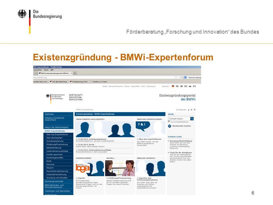 Existenzgründung - BMWi-Expertenforum