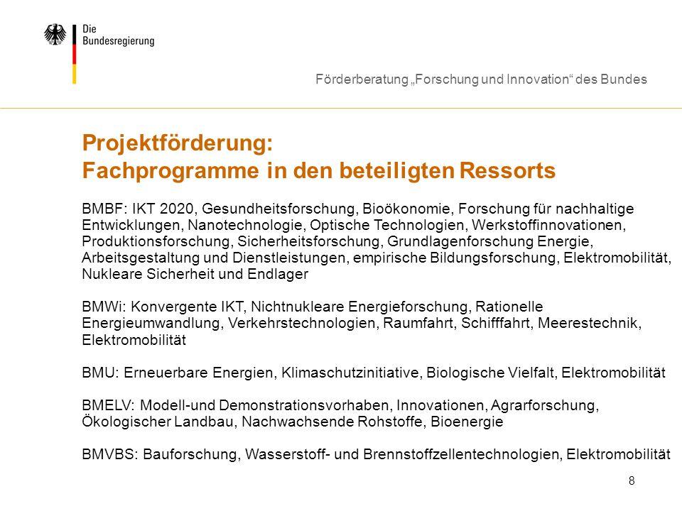 Projektförderung: Fachprogramme in den beteiligten Ressorts
