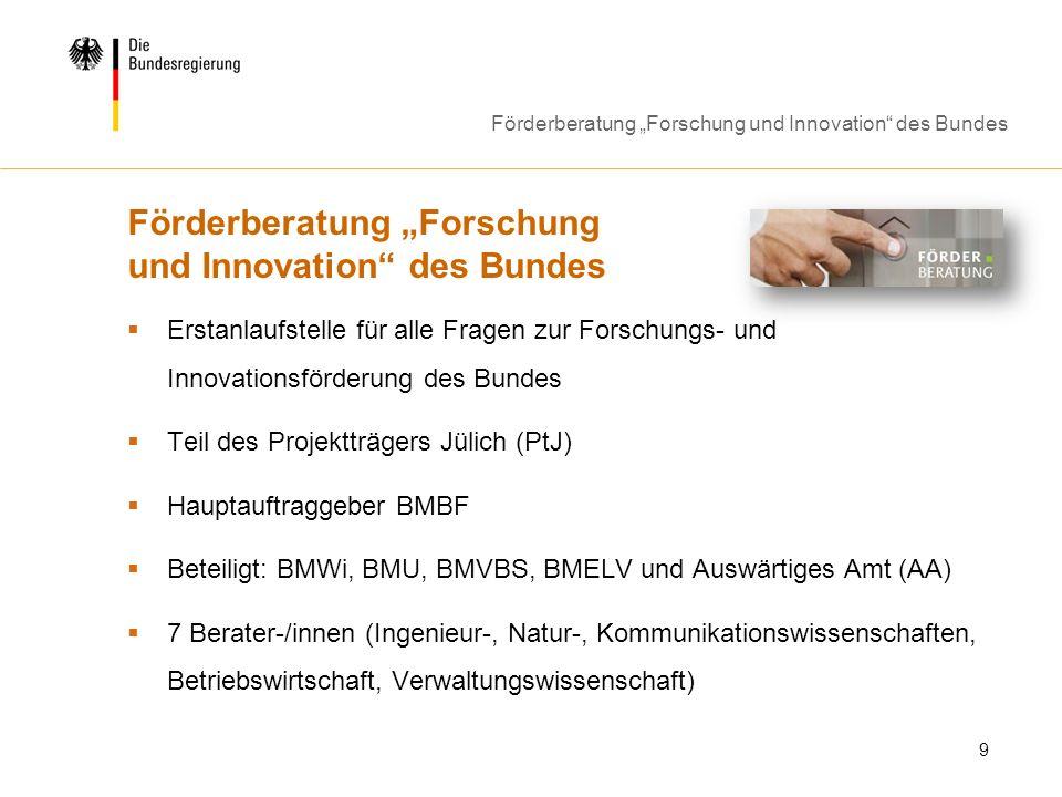 "Förderberatung ""Forschung und Innovation des Bundes"