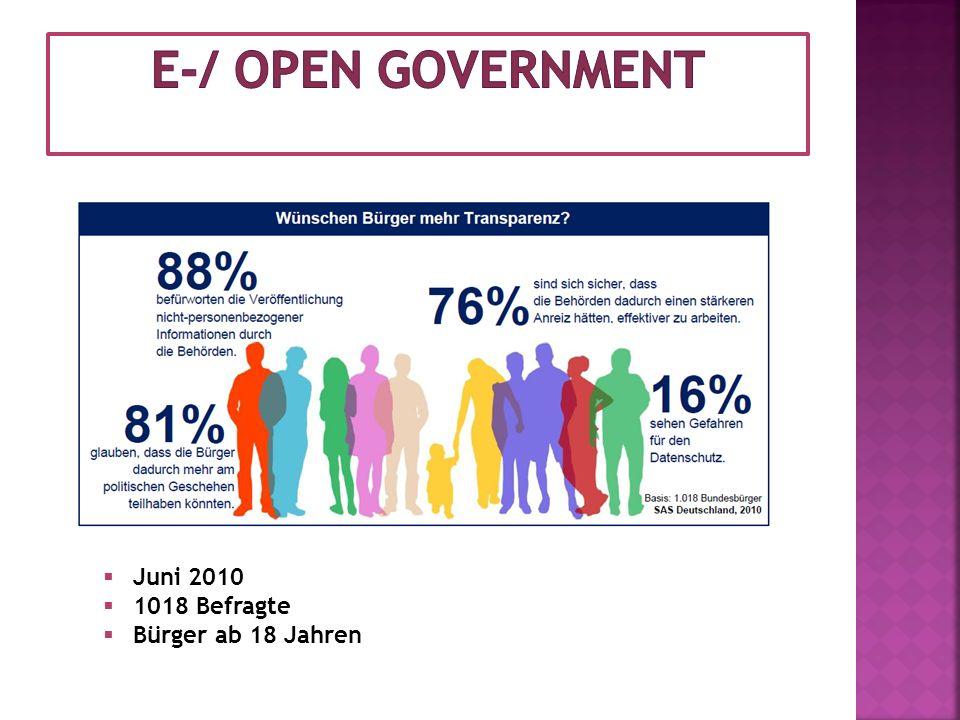 E-/ open Government Juni 2010 1018 Befragte Bürger ab 18 Jahren
