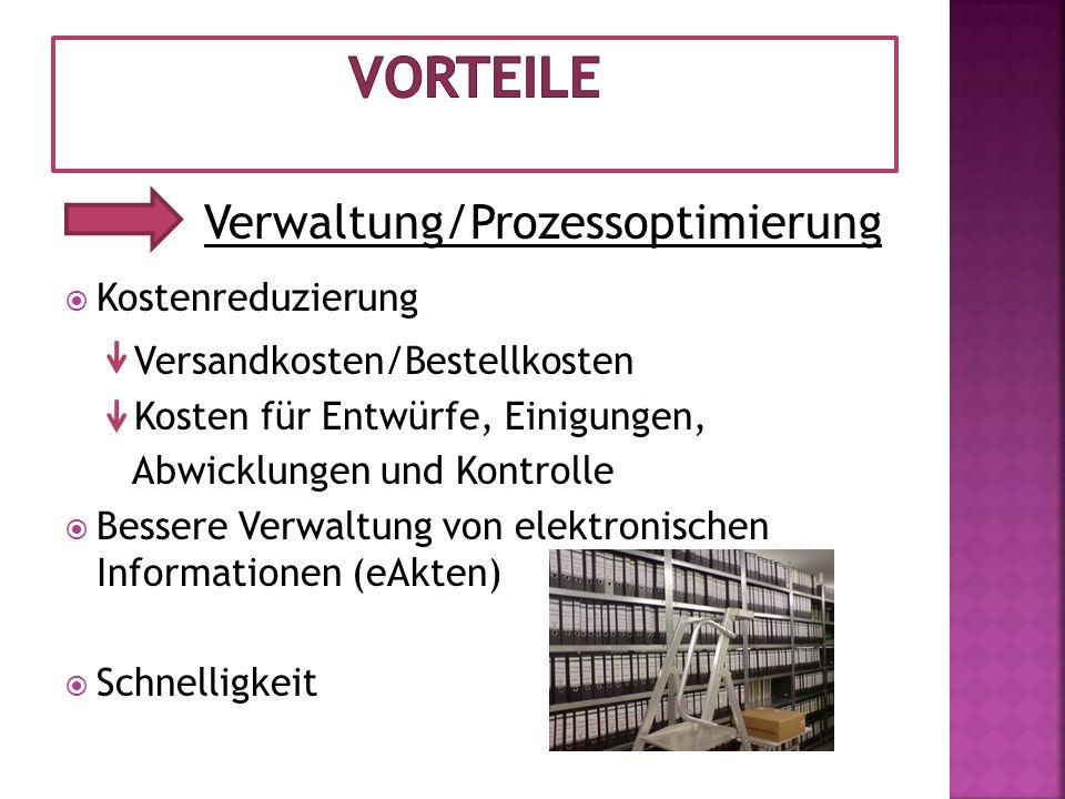 Vorteile Verwaltung/Prozessoptimierung Kostenreduzierung