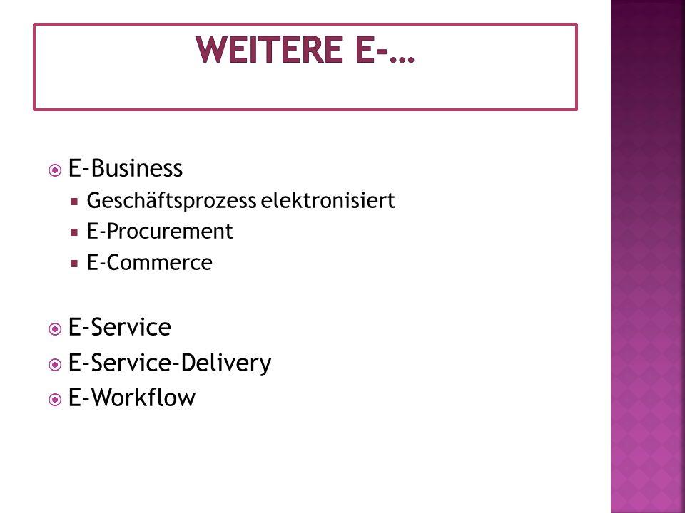Weitere E-… E-Business E-Service E-Service-Delivery E-Workflow