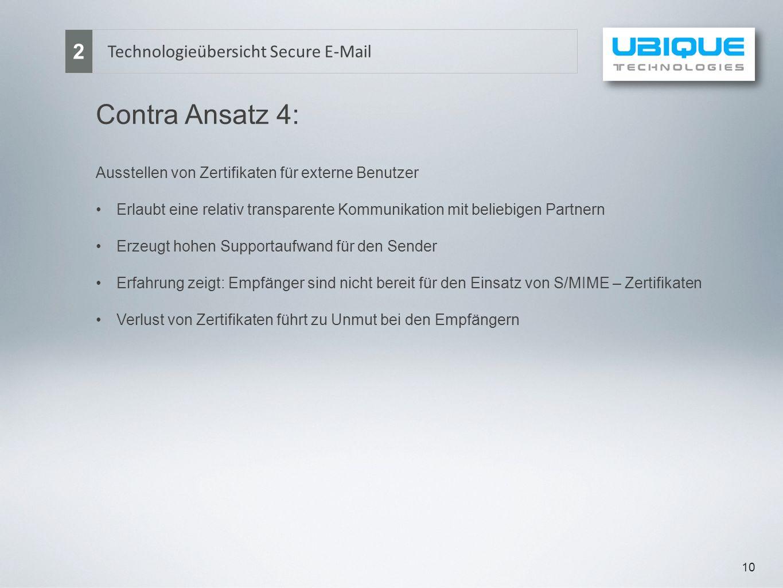 Contra Ansatz 4: 2 Technologieübersicht Secure E-Mail