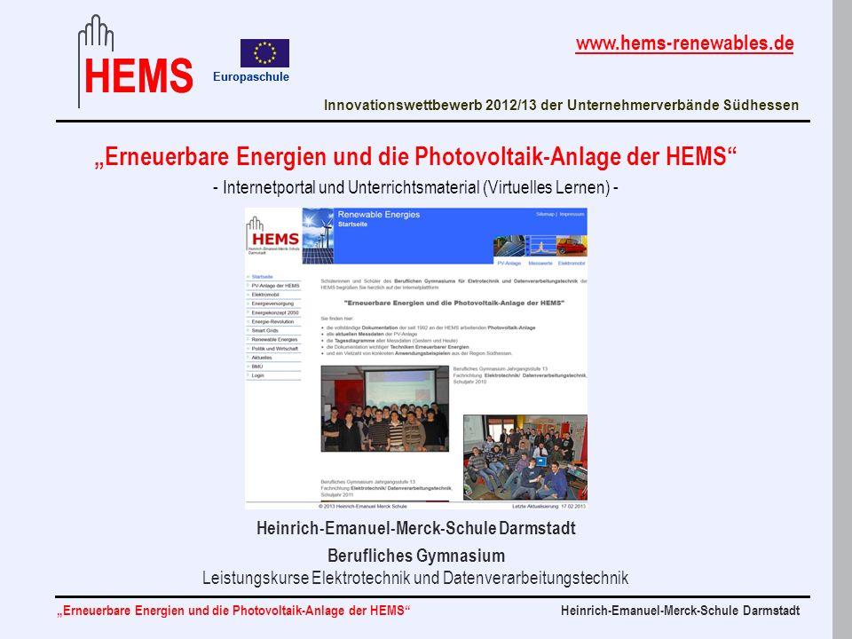 """""""Erneuerbare Energien und die Photovoltaik-Anlage der HEMS"""