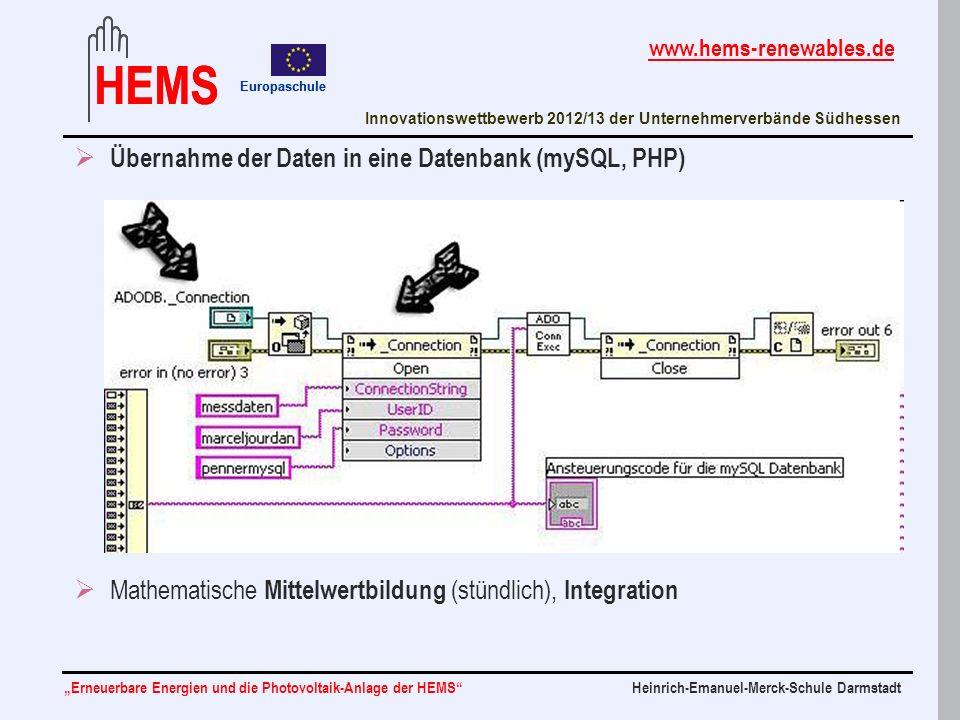 Übernahme der Daten in eine Datenbank (mySQL, PHP)