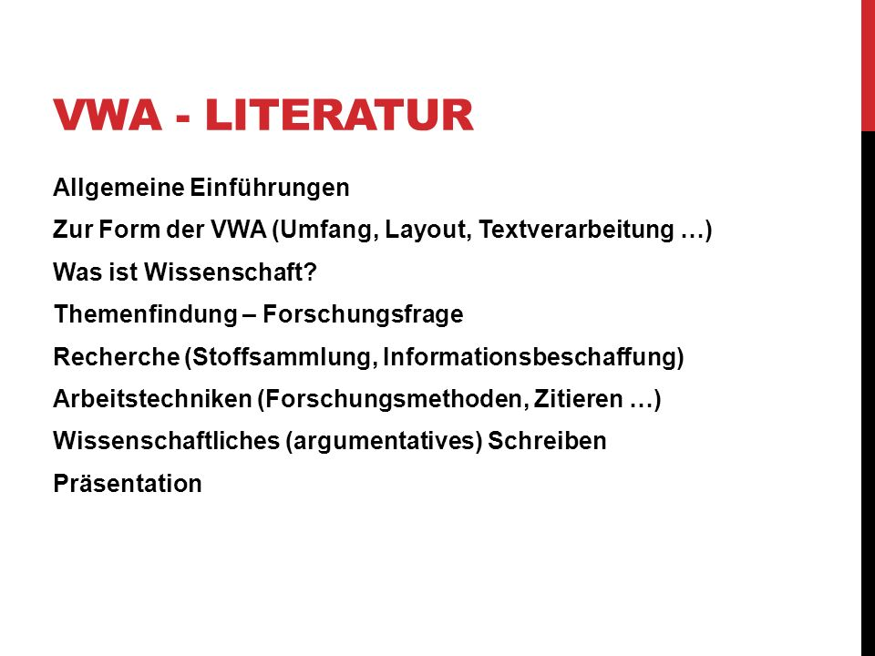 VWA - Literatur