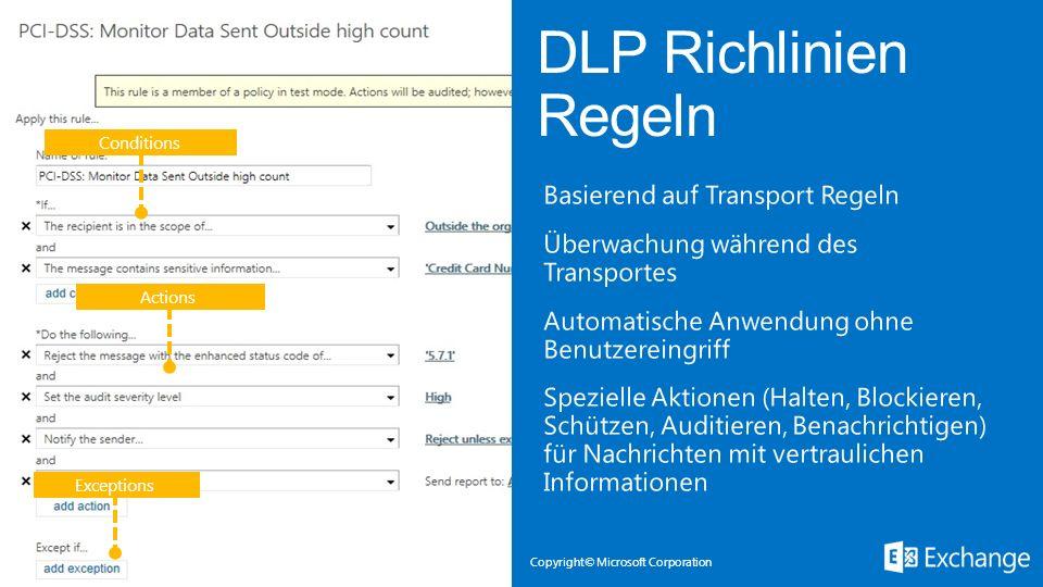 DLP Richlinien Regeln Conditions.