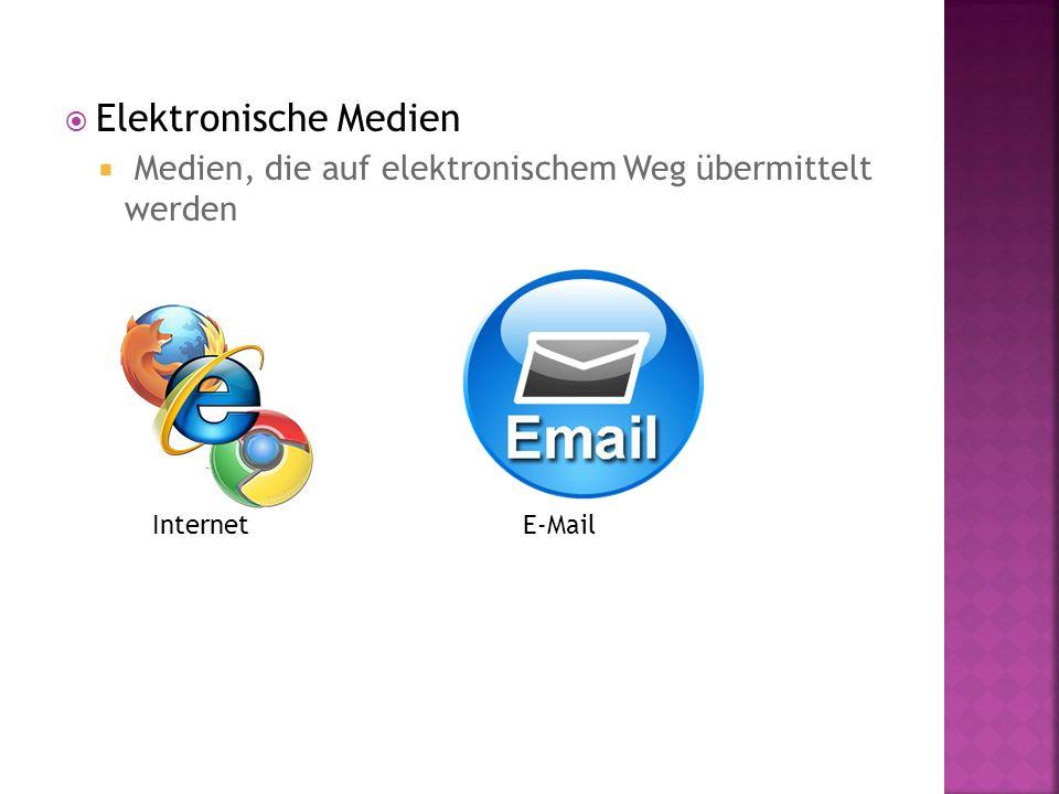 Elektronische Medien Medien, die auf elektronischem Weg übermittelt werden Internet E-Mail