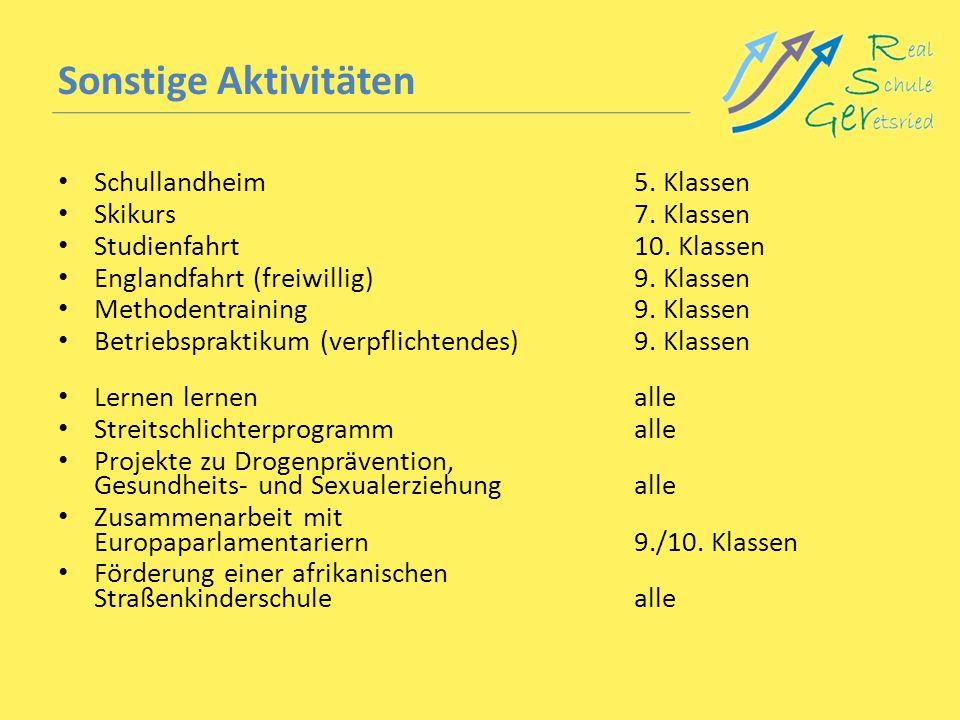 Sonstige Aktivitäten Schullandheim 5. Klassen Skikurs 7. Klassen