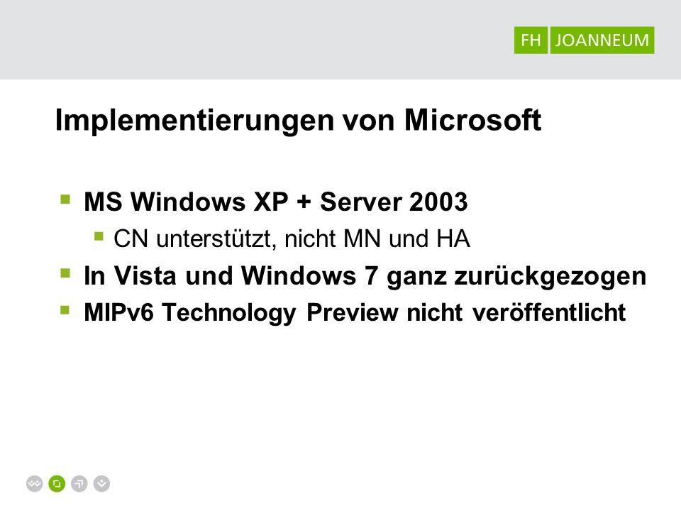 Implementierungen von Microsoft