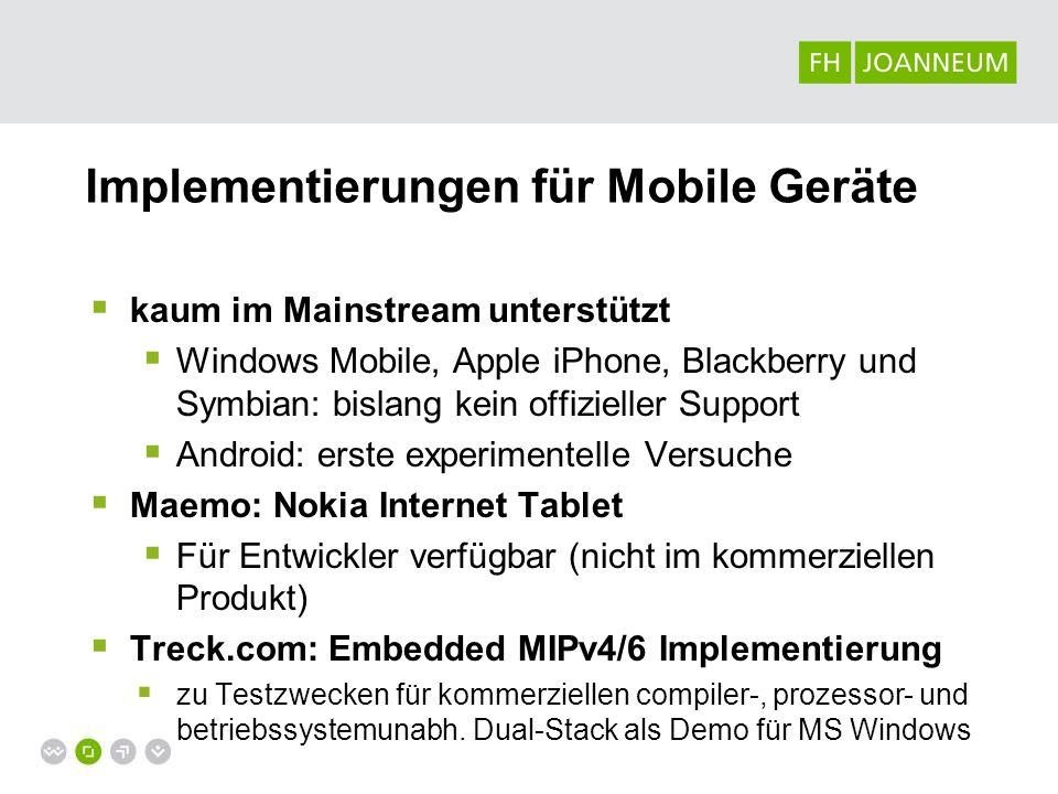 Implementierungen für Mobile Geräte