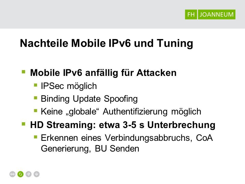 Nachteile Mobile IPv6 und Tuning