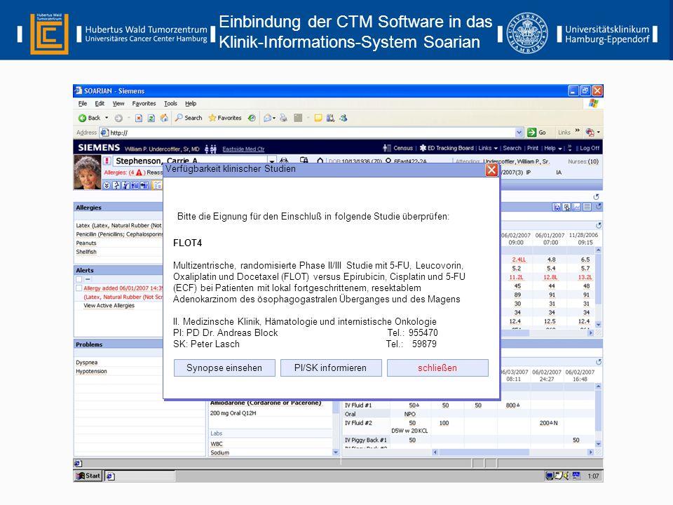 Einbindung der CTM Software in das Klinik-Informations-System Soarian